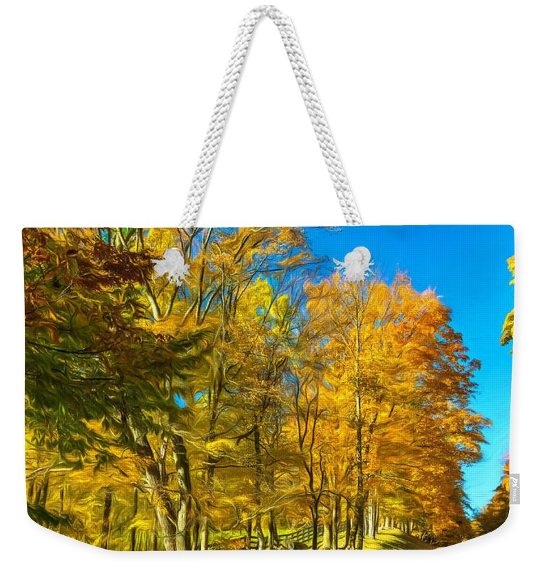 Steve Harrington Weekender Tote Bag featuring the photograph On A Country Road 4 - Paint by Steve Harrington