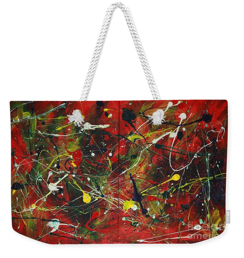 Splatter Weekender Tote Bag featuring the painting On A High Note by Jacqueline Athmann