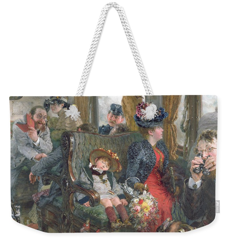 Journey Weekender Tote Bag featuring the painting On A Journey To Beautiful Countryside by Adolph Friedrich Erdmann von Menzel