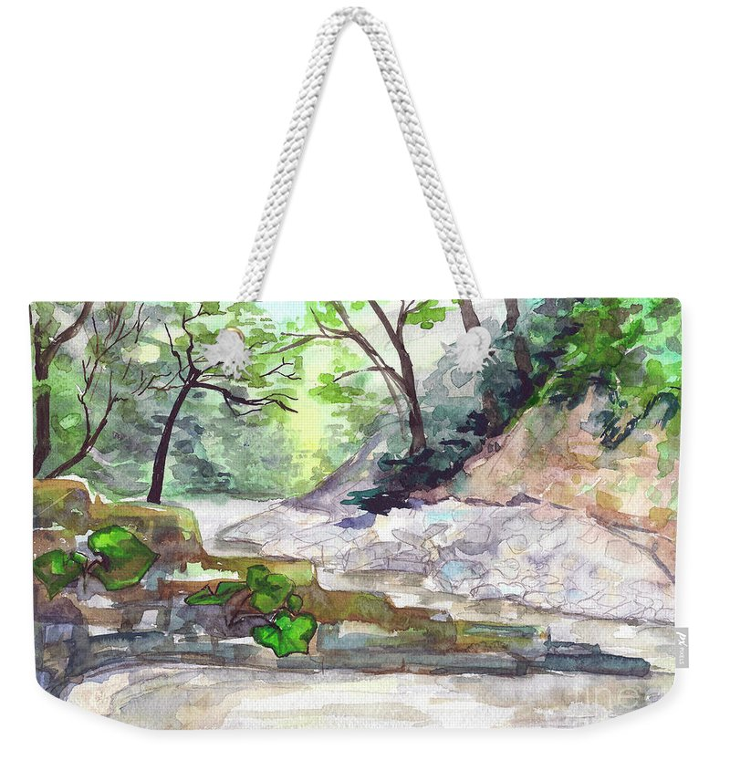 Mountain Weekender Tote Bag featuring the painting On A Mountain River by Yana Sadykova