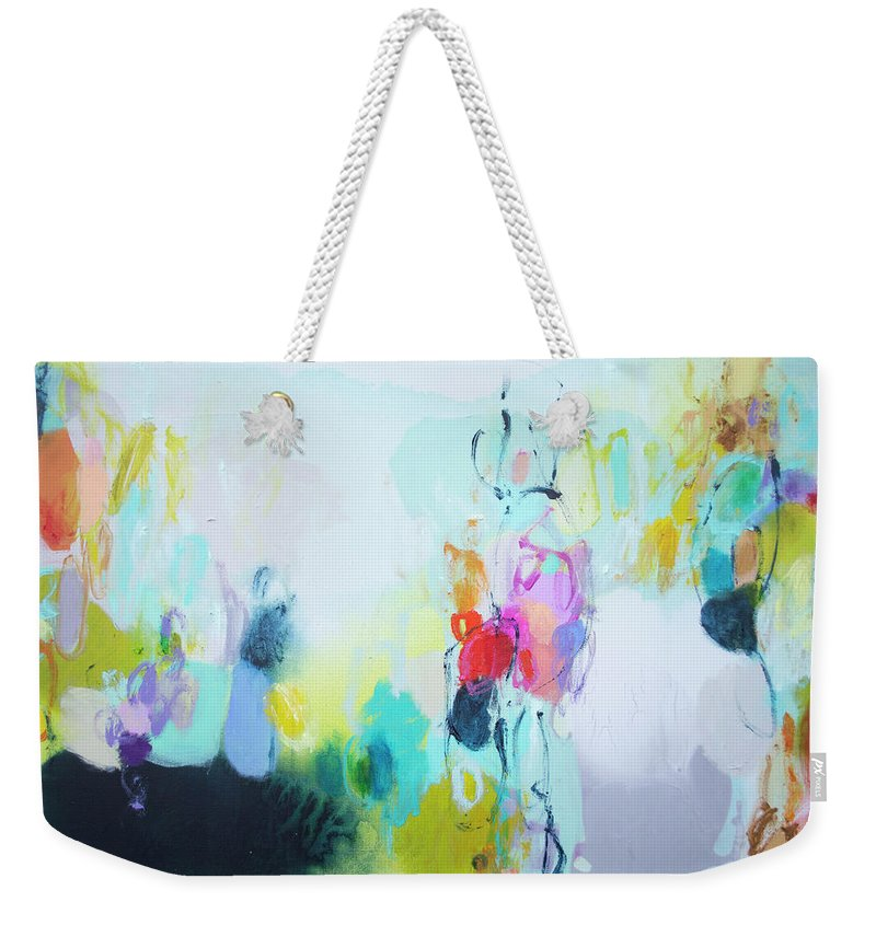Abstract Weekender Tote Bag featuring the painting On A Road Less Travelled by Claire Desjardins
