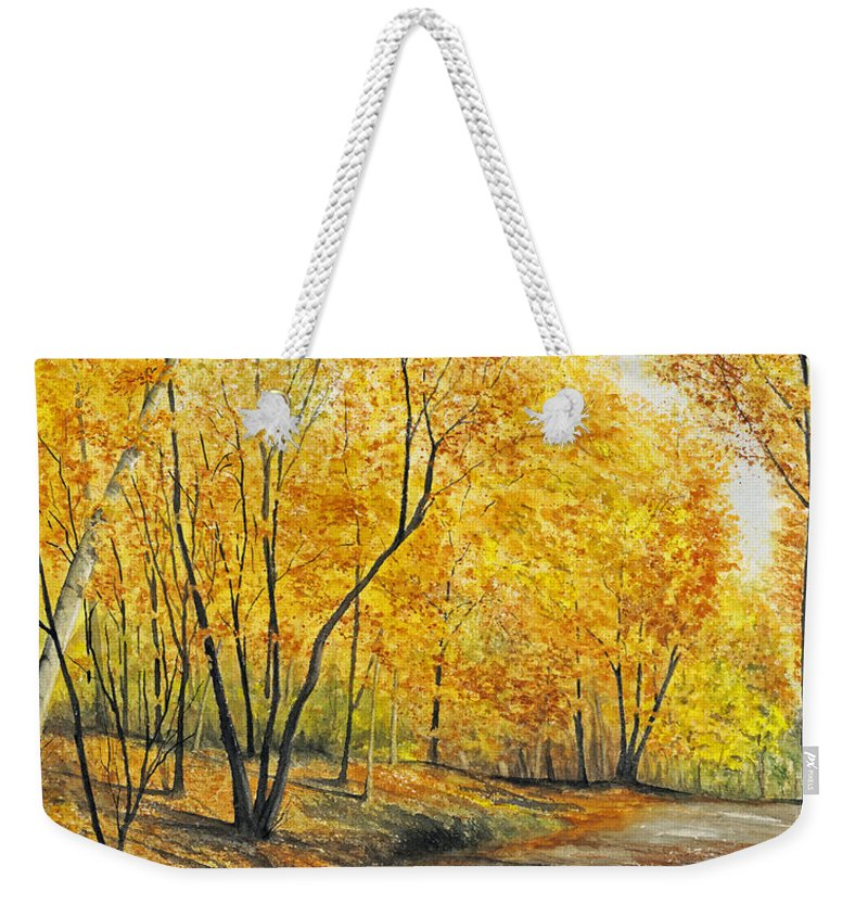 Autumn Weekender Tote Bag featuring the painting On Golden Road by Mary Tuomi