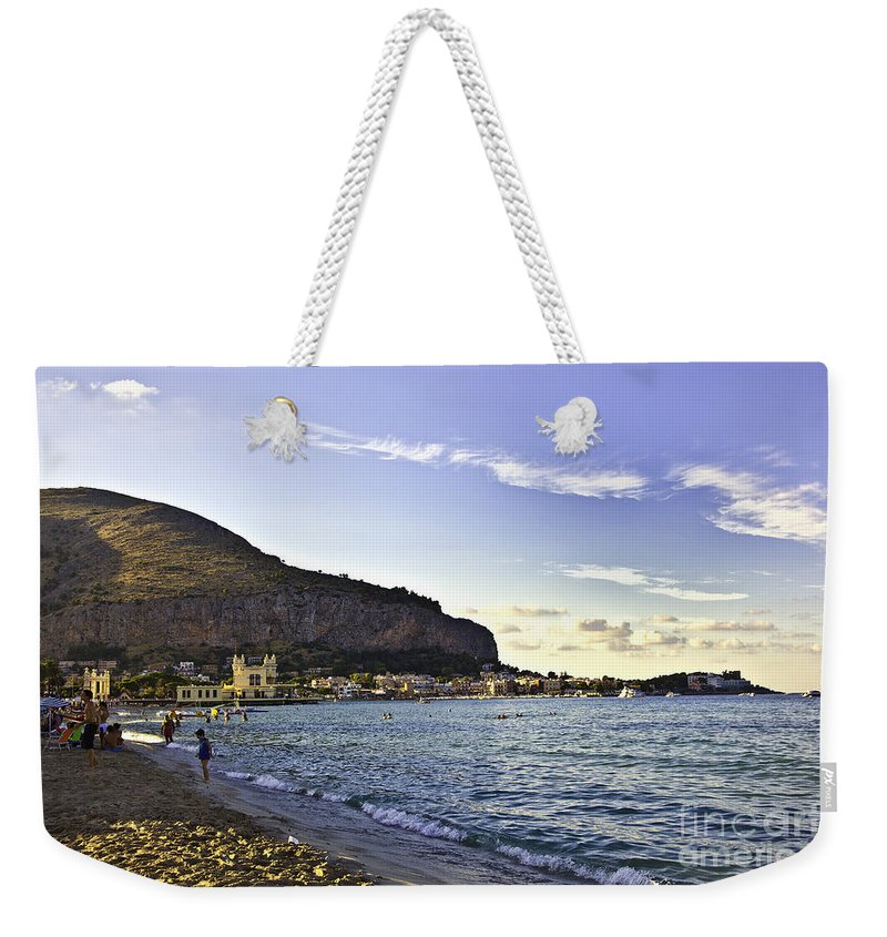 Beach Weekender Tote Bag featuring the photograph On Mondello Beach by Madeline Ellis