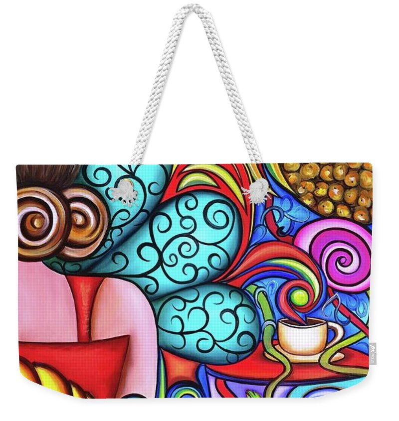 Cuba Weekender Tote Bag featuring the painting On My Mind by Annie Maxwell