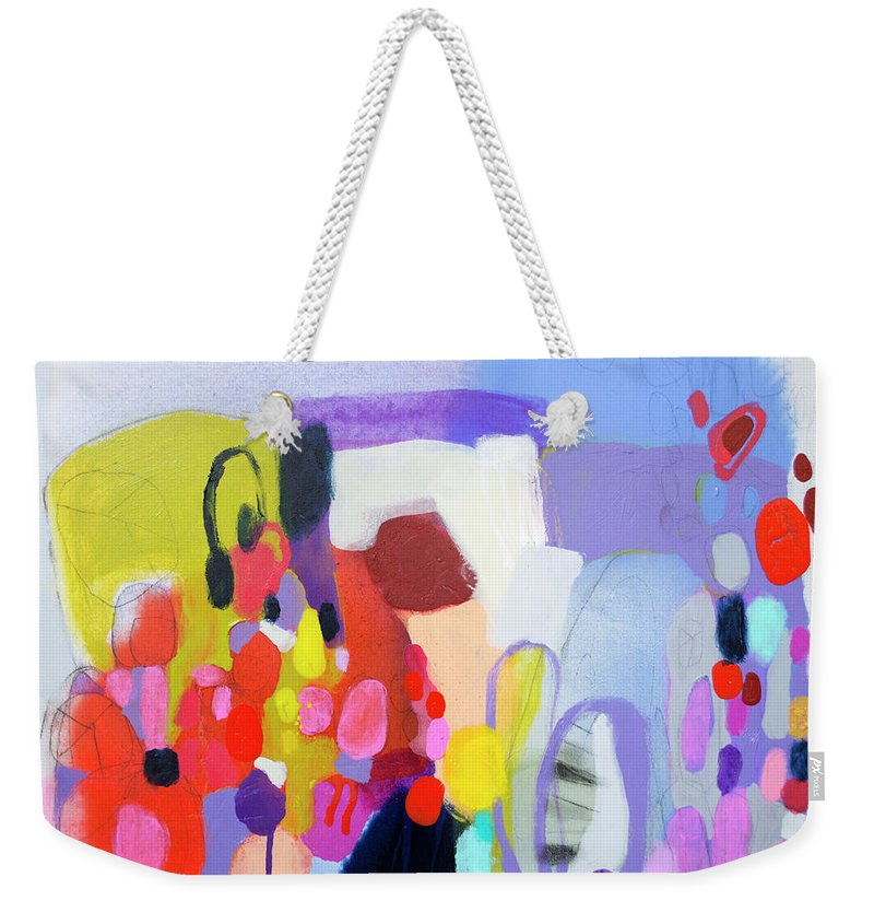 Abstract Weekender Tote Bag featuring the painting On My Mind by Claire Desjardins