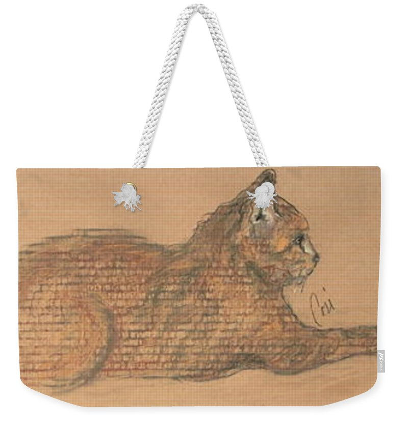 Cat Weekender Tote Bag featuring the drawing On Point by Cori Solomon