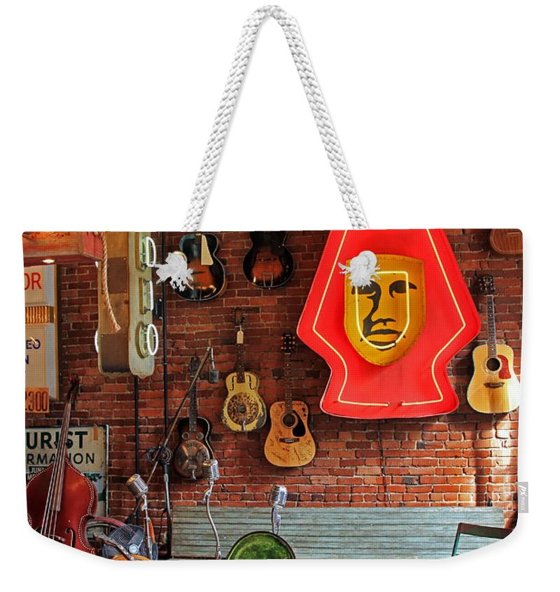 Guitars Weekender Tote Bag featuring the photograph On Stage by Jennifer Robin