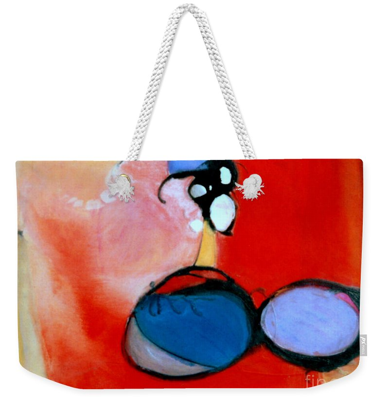 Abstract Weekender Tote Bag featuring the painting On The Ball by Marlene Burns