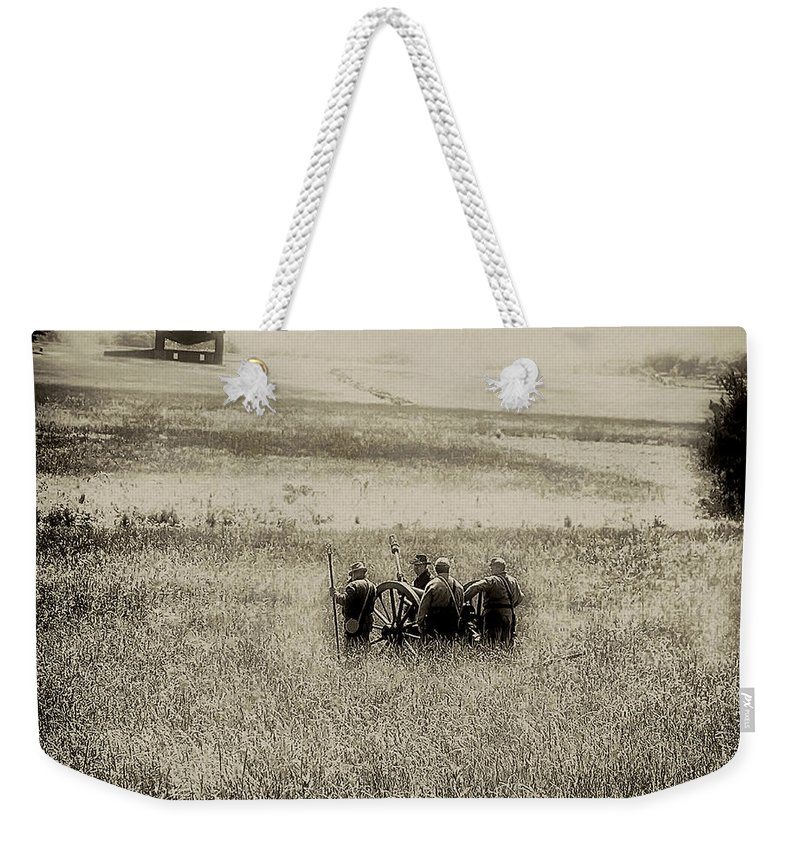 Gettysburg Weekender Tote Bag featuring the photograph On The Battlefield - Gettysburg by Bill Cannon