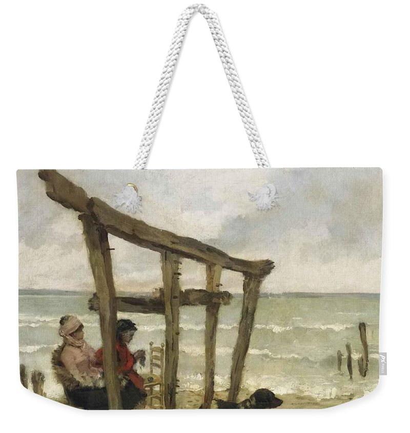 Giuseppe De Nittis Weekender Tote Bag featuring the painting On The Beach by MotionAge Designs