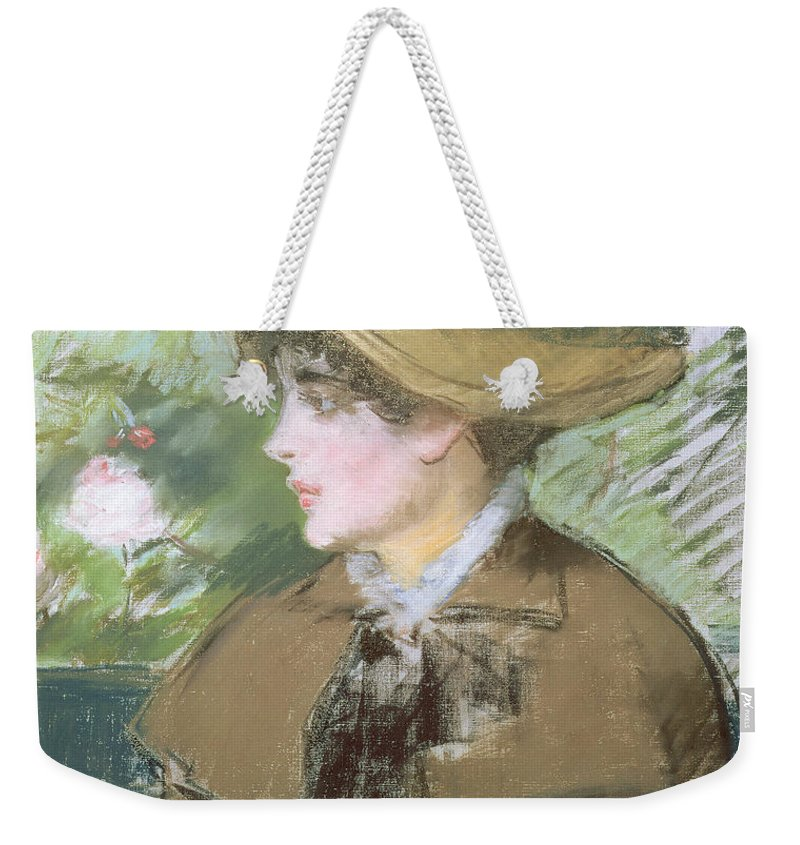 Impressionist; Portrait; Woman; Profile; Head; Hat; Bonnet Weekender Tote Bag featuring the painting On The Bench by Edouard Manet