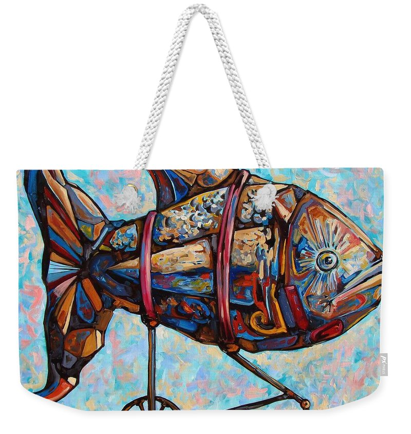 Surrealism Weekender Tote Bag featuring the painting On The Conquer For Land by Darwin Leon