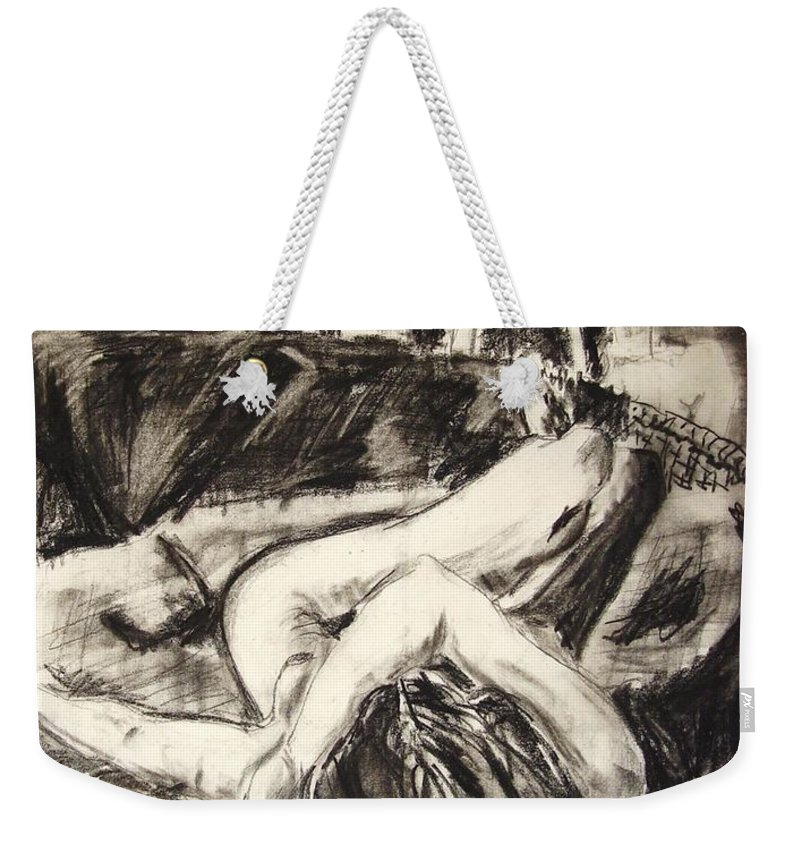 Inclined Nude Weekender Tote Bag featuring the drawing On The Divan by Ron Bissett