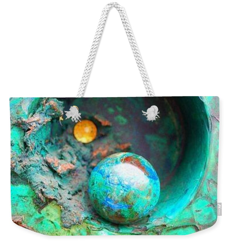 Texture Weekender Tote Bag featuring the mixed media On The Edge by Sofanya White