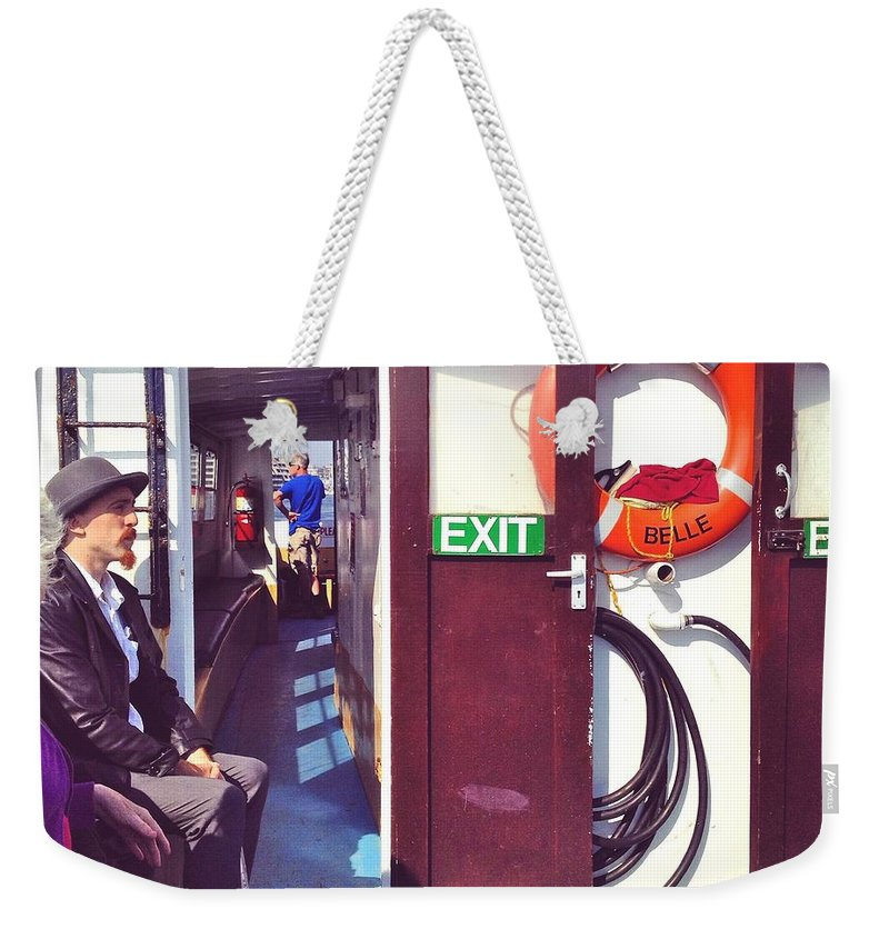 Ferry Weekender Tote Bag featuring the photograph On The Edgecumbe Belle by Steve Swindells