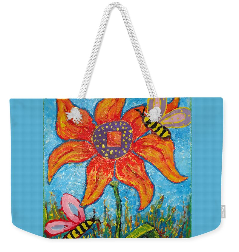 Landscape Weekender Tote Bag featuring the painting On The Flower by Ioulia Sotiriou