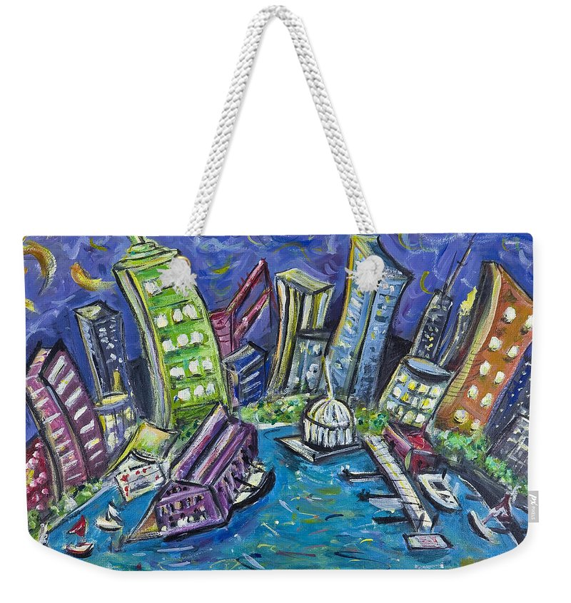 New York City Weekender Tote Bag featuring the painting On The Hudson by Jason Gluskin