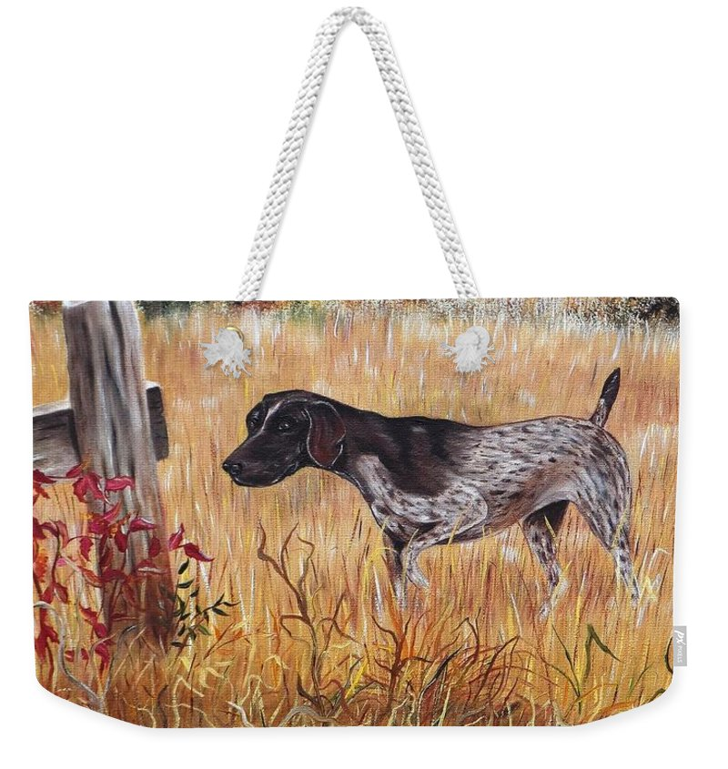 Pointer Weekender Tote Bag featuring the painting On The Hunt by Phyllis Gates