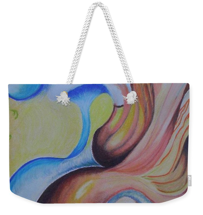 Abstract Weekender Tote Bag featuring the painting On The Island by Suzanne Udell Levinger