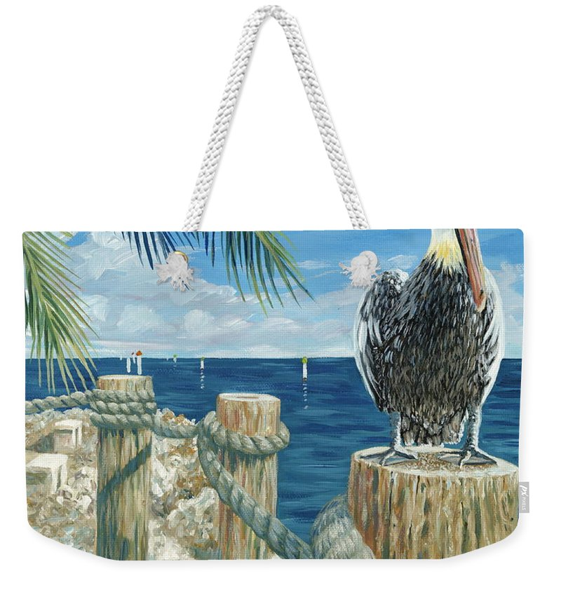 Key Largo Weekender Tote Bag featuring the painting On The Lookout by Danielle Perry