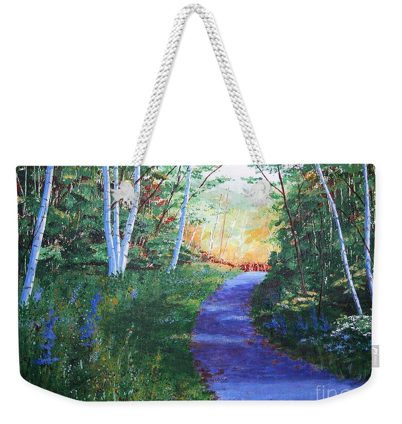 Pathway Weekender Tote Bag featuring the painting On The Path by Lynn Quinn