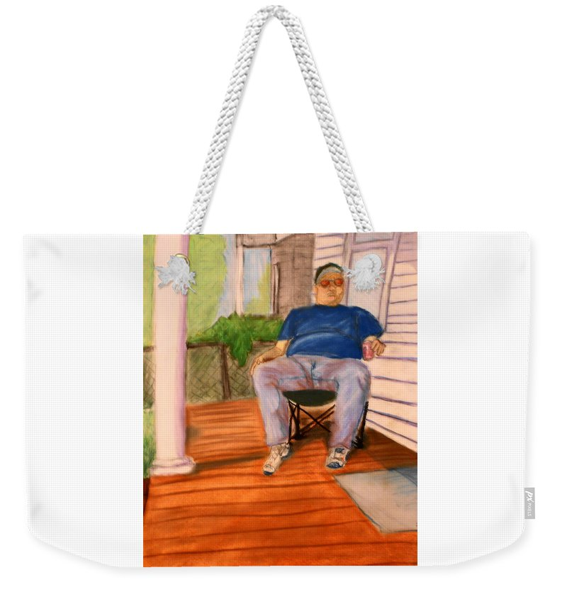 Man Weekender Tote Bag featuring the pastel On The Porch With Uncle Pervy by Jean Haynes