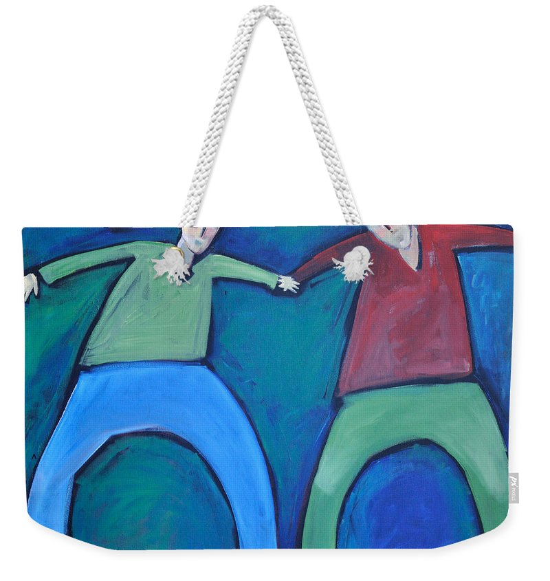 Men Weekender Tote Bag featuring the painting On The Precipice by Tim Nyberg