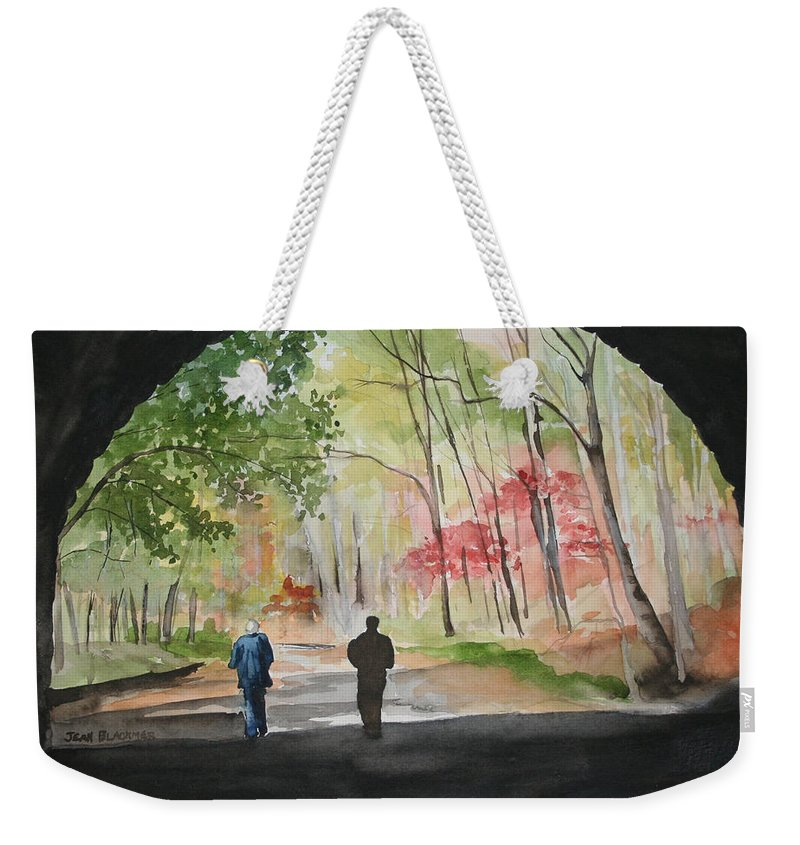 Road Weekender Tote Bag featuring the painting On The Road To Nowhere by Jean Blackmer