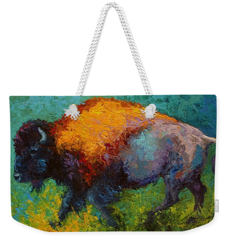 Bison Weekender Tote Bag featuring the painting On The Run by Marion Rose