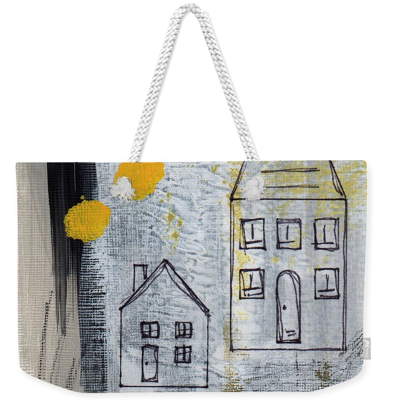 Abstract Weekender Tote Bag featuring the painting On The Same Street by Linda Woods
