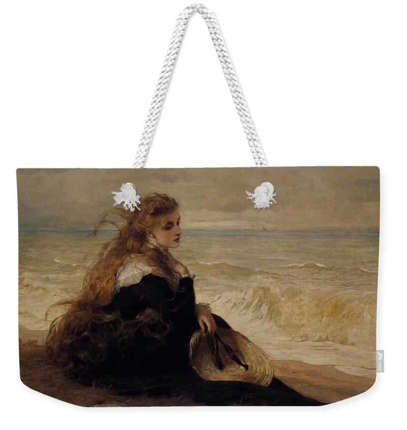 George Elgar Hicks Weekender Tote Bag featuring the digital art On The Seashore by George Elgar Hicks