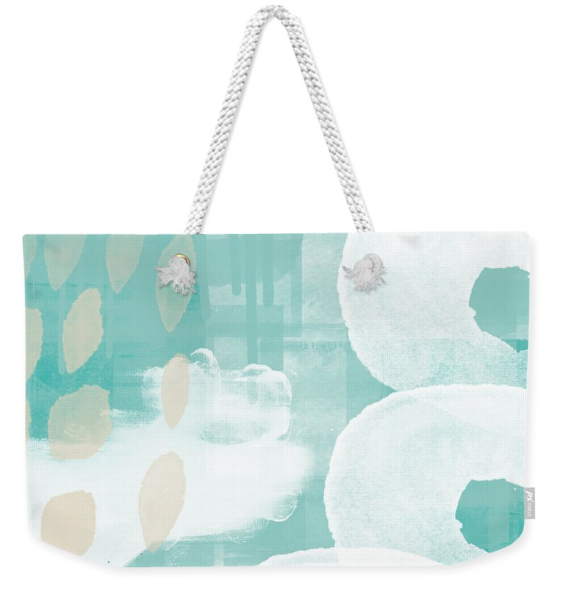 Beach Weekender Tote Bag featuring the mixed media On The Shore- Abstract Painting by Linda Woods