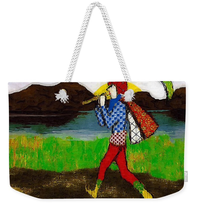 Fairy Tale Weekender Tote Bag featuring the painting On The Way To Hamelin Town by RC DeWinter