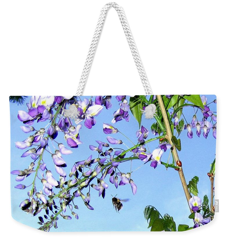 Honeybee Weekender Tote Bag featuring the photograph On The Wing by Will Borden