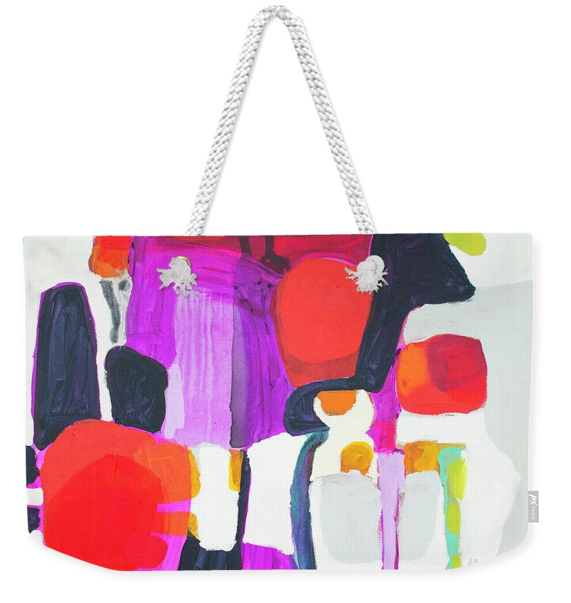 Abstract Weekender Tote Bag featuring the painting On Time by Claire Desjardins