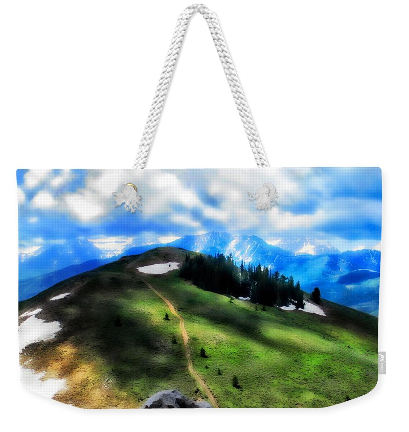 Sunny Weekender Tote Bag featuring the photograph On Top Of The World  by Cindy Greenstein
