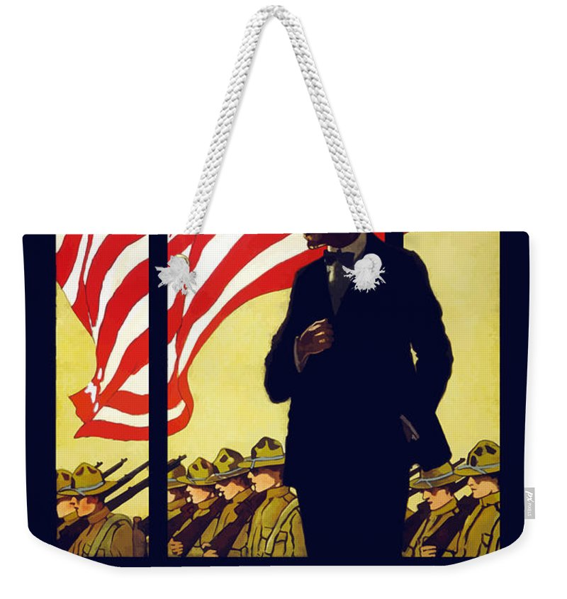 Ww1 Propaganda Weekender Tote Bag featuring the painting On Which Side Of The Window Are You by War Is Hell Store
