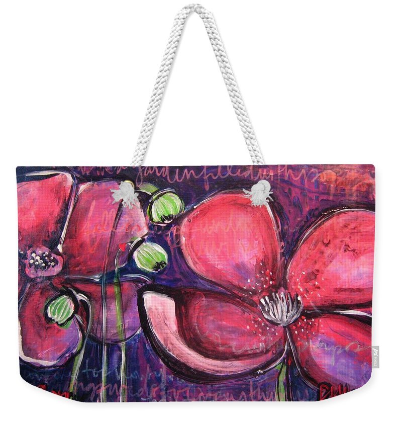 Purple Weekender Tote Bag featuring the painting Once I Was In A Garden Filled With Poppies by Laurie Maves ART