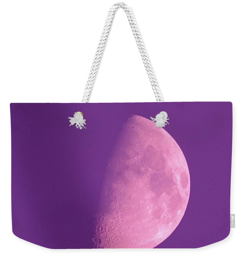 Moon. The Moon. A Half Moon. Blue Moon Weekender Tote Bag featuring the photograph Once In A Blue Moon by Jeff Swan