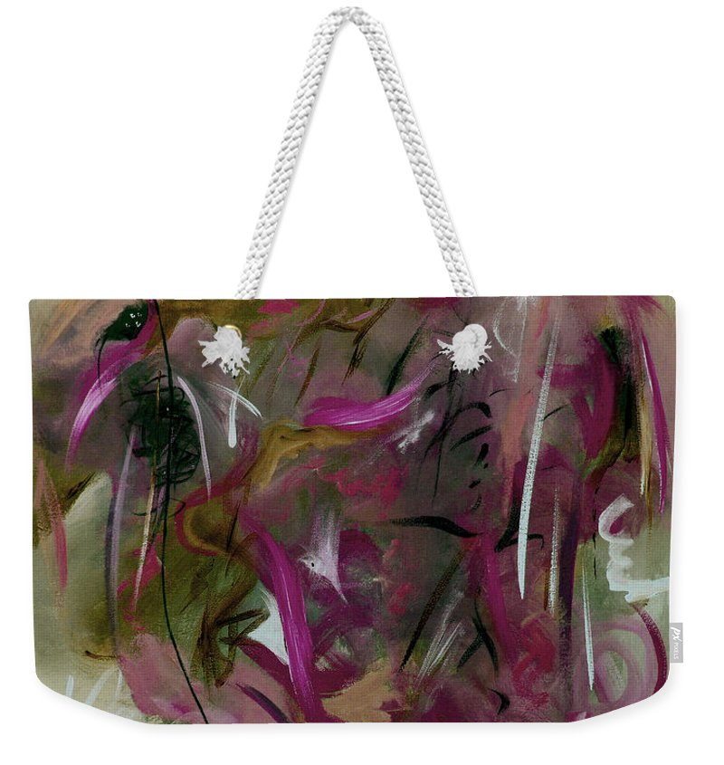 Abstract Weekender Tote Bag featuring the painting Once by Ruth Palmer