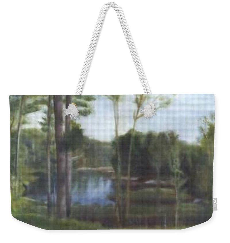 Landscape Weekender Tote Bag featuring the painting Once by Sheila Mashaw