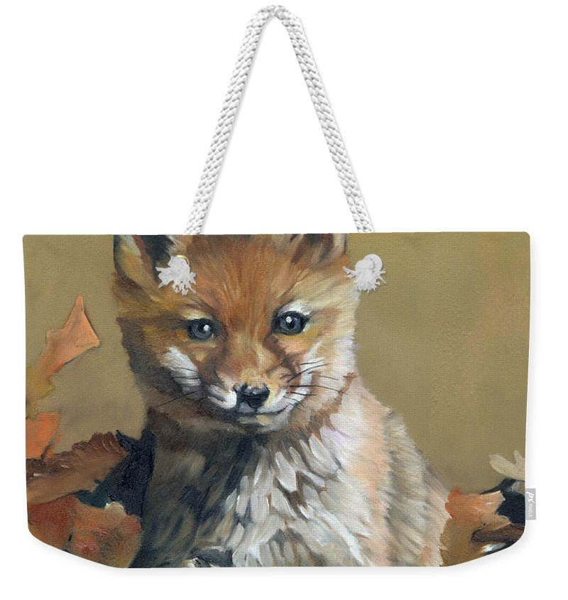 Fox Weekender Tote Bag featuring the painting Once Upon A Time by J W Baker