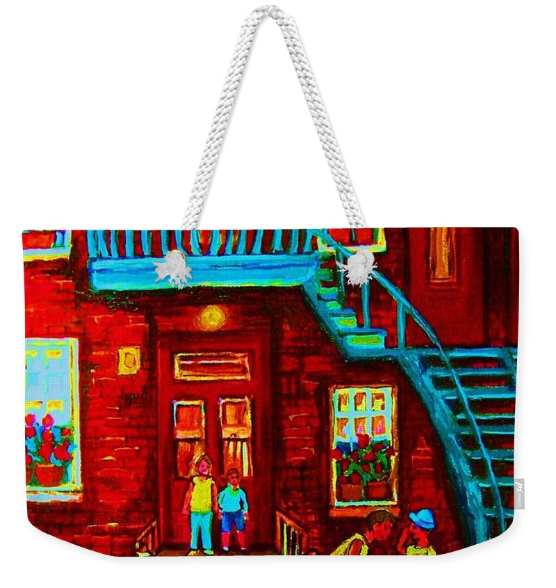 Bikes Weekender Tote Bag featuring the painting One Bike For Two Brothers by Carole Spandau