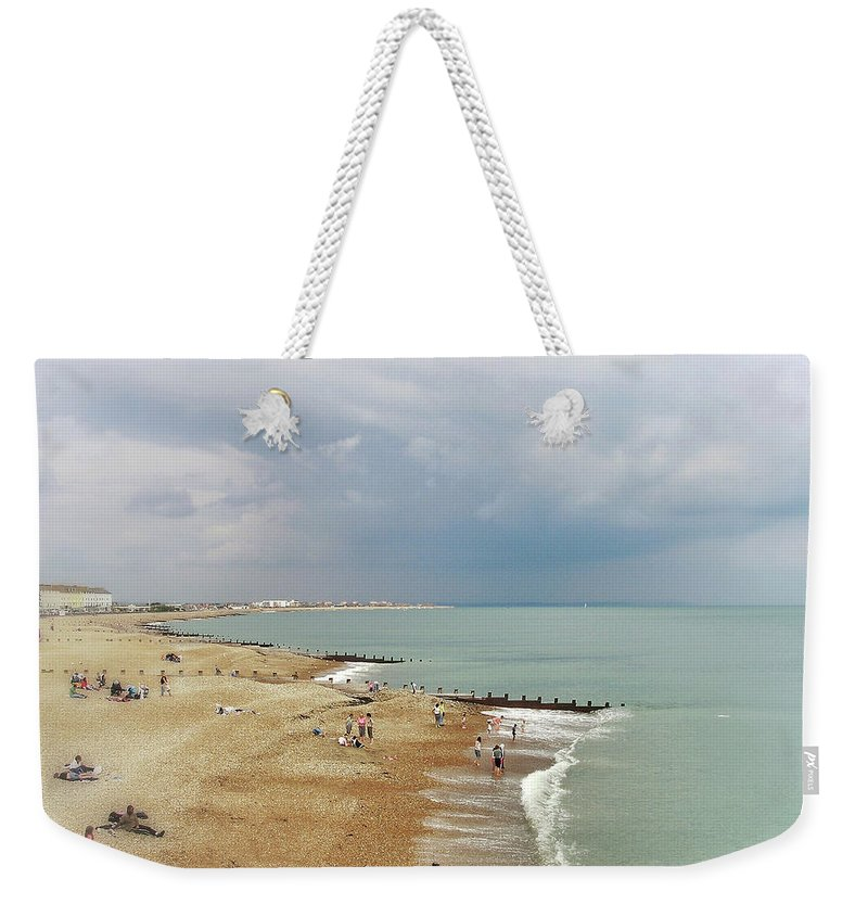 Connie Handscomb Weekender Tote Bag featuring the photograph One Cool Beach Day by Connie Handscomb