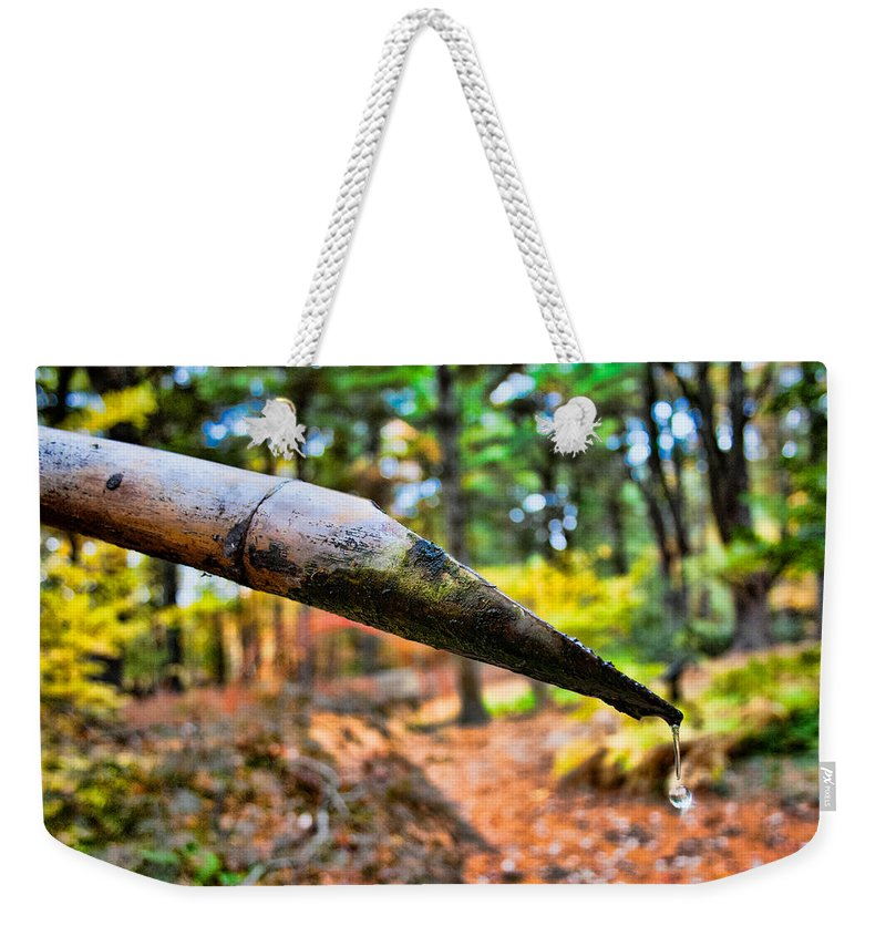 Water Drop Weekender Tote Bag featuring the photograph One Drop Amidst The Drought by Mike Smale