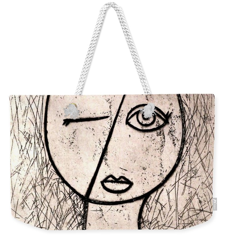 Clay Weekender Tote Bag featuring the relief One Eye by Thomas Valentine