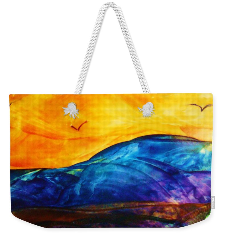 Landscape Weekender Tote Bag featuring the painting One Fine Day by Melinda Etzold