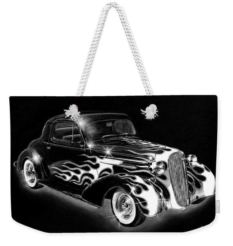 One Hot 1936 Chevrolet Coupe Weekender Tote Bag featuring the drawing One Hot 1936 Chevrolet Coupe by Peter Piatt