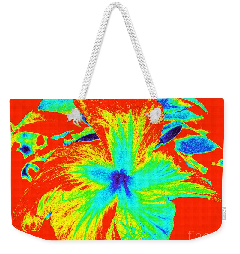 Hot Weekender Tote Bag featuring the photograph One Hot Flower by Chad Kroll