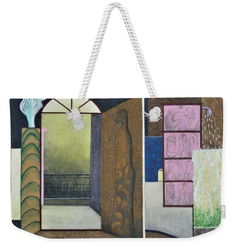 Romantic Weekender Tote Bag featuring the painting One Moonlit Night- J-16 by Raju Bose